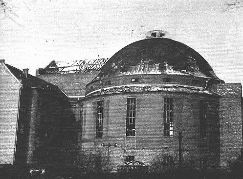 "The Prinzregenten Street synagogue, destroyed by fire during the Kristallnacht (""Night of Broken Glass"") pogrom. Berlin, Germany, November 9-10, 1938."