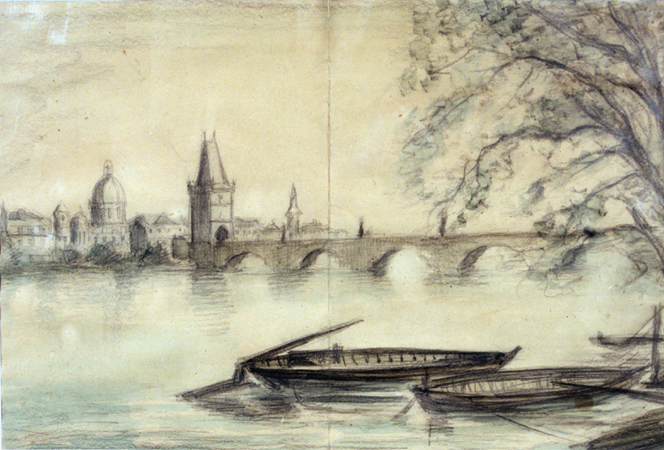 1943 painting of the Vltava River in Prague created from a photograph by Theresienstadt prisoner Bedrich Fritta. Fritta (1909-1945) was a Czech Jewish artist who created drawings and paintings depicting conditions in the Theresienstadt camp-ghetto. Fritta was deported to Auschwitz in October 1944; he died there a week after his arrival.