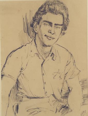 Retrato de Edgar Krasa, realizado en 1943 por Leo Haas en Theresienstadt. Haas (1901-1983) fue un artista judío checo que, mientras estuvo preso en Nisko y Theresienstadt durante la Segunda Guerra Mundial, pintó retratos y realizó una gran cantidad de dibujos que documentan la vida cotidiana de los prisioneros.