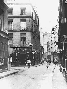 A view of Rosiers Street in the Jewish quarter of Paris, before World War II. Paris, France, date uncertain.