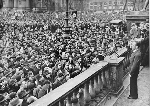 Joseph Goebbels, the Nazi minister of propaganda, speaks at a rally in favor of the boycott of Jewish-owned shops. Berlin, Germany, April 1, 1933.
