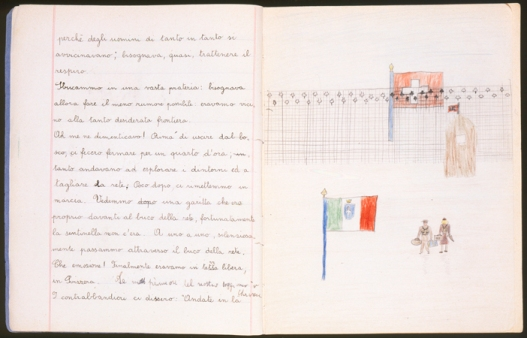 "Illustrated page of a child's diary written in a Swiss refugee camp. The diary entry describes how they crossed the border into Switzerland. The text reads, ""We came out of the woods and into a clearing: we had to be as quiet as possible because we were so close to the border. Oh! I almost forgot! Before we came out of the woods, they made us stand still for a quarter of an hour while they went to explore the area and to cut through the fence. Fortunately, shortly thereafter, we began to walk again. We saw a small guard station that was literally in front of the hole in the fence, fortunately the guard was not there. One by one, silently, we went through the hole in the fence. What emotion! Finally, we were in free territory, in Switzerland."" Switzerland, 1943-1944."