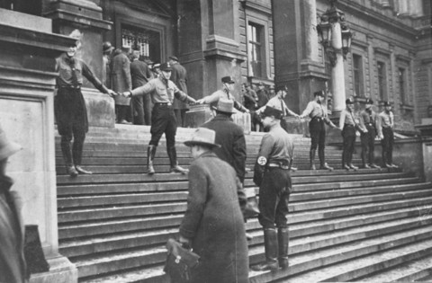 Nazis block Jews from entering the University of Vienna. Austria, 1938.