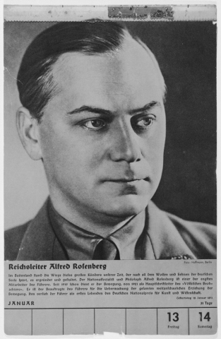 Portrait of Alfred Rosenberg. One of a collection of portraits included in a 1939 calendar of Nazi officials. Germany, 1939.