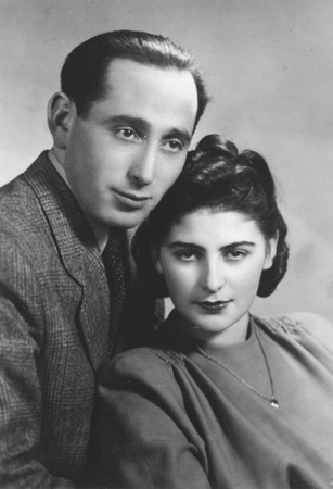 Wedding portrait of Shmuel (Miles) Lerman and Rozalia (Chris) Laks in Lodz, Poland. February 25, 1946.