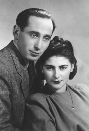Wedding portrait of Shmuel (Miles) Lerman and Rozalia (Chris) Laks in Lodz, Poland. February 25, 1946.
