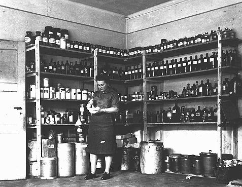 The American Jewish Joint Distribution Committee pharmacy in the displaced persons camp at Bergen-Belsen. Germany, August 14, 1947.