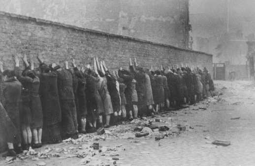 Jews captured during the Warsaw ghetto uprising. Poland, April 19-May 16, 1943.