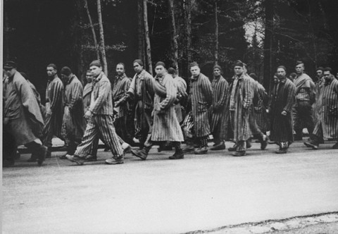 Prisoners head south on a death march from the Dachau concentration camp. Gruenwald, Germany, April 29, 1945.