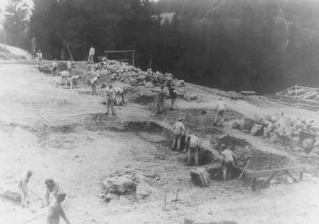 Prisoners at forced labor on a construction project in the Flossenbürg concentration camp. Flossenbürg, Germany, date uncertain.