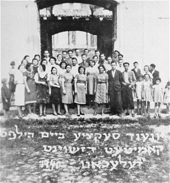 Portrait of a youth section of the aid committee maintained by the American Jewish Joint Distribution Committee throughout Poland before America's entry into the war. Zelechow, Poland, 1940.