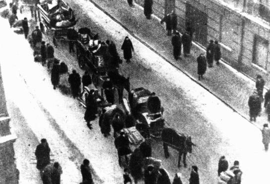 Jews forced to move into the Lodz ghetto. Lodz, Poland, date uncertain.