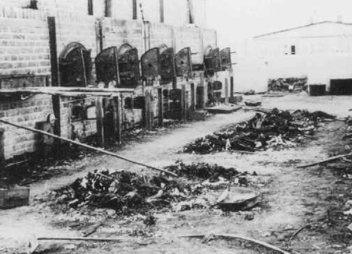 Charred remains of corpses near crematoria in the Majdanek camp, after liberation. Poland, after July 22, 1944.