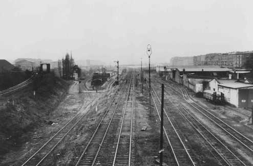 Rail tracks at the Putlitz Street railroad station in Berlin. Jews were deported from this station. Berlin, Germany, date uncertain.