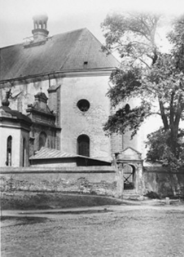 Postwar photo of a church in the village of Chelmno. Jews were kept in this building en route to the Chelmno camp. Chelmno, Poland, June 1945.