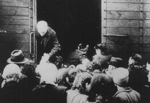 Deportation of Jews from the Westerbork transit camp. The Netherlands, 1943.