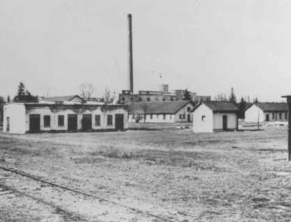 View of barracks and the ammunition factory in one of the first photos of Dachau concentration camp. Dachau, Germany, March or April 1933.