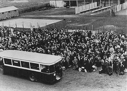 Jews arrive at the Drancy transit camp by bus. France, between 1942 and 1944.