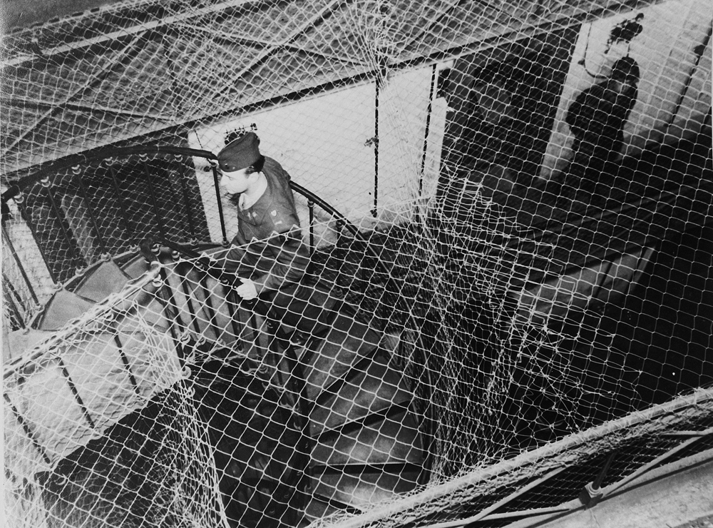 Birds-eye view of the fenced-in cell block where defendents in the International Military Tribunal war crimes trial were imprisoned. Nuremberg, Germany, between November 20, 1945, and October 1, 1946.