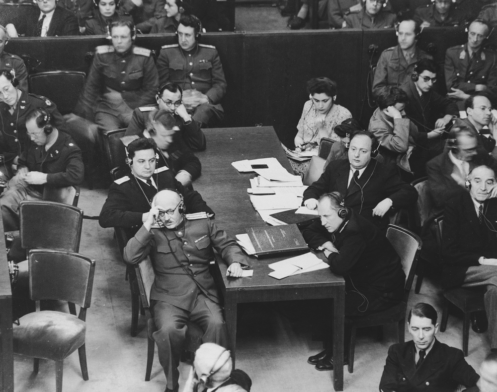 The Soviet prosecution team at the International Military Tribunal. Each of the four Allied countries—the United States, Great Britain, France, and the Soviet Union—was represented by a judge and a team of prosecuting attorneys.