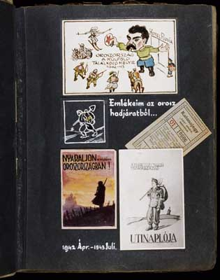 "Collage entitled: Mementos from the Russian campaign,"" which includes a watercolor of Stalin with the caption: 'Russia a meeting place for foreigners 1942-43' (top); a commuter train ticket issued to military personnel who carried the special SAS [Hurry, Immediate, Urgent] draft notice (middle, right); a pseudo travel brochure cover entitled 'Spend your summer vacation in merry Russia' (bottom, left); and the original design for the cover of the labor company's hournal entitled 'Hungarian Roayal 109/13 Labor Company Travel Journal' (bottom, right). [Photograph #57943]."