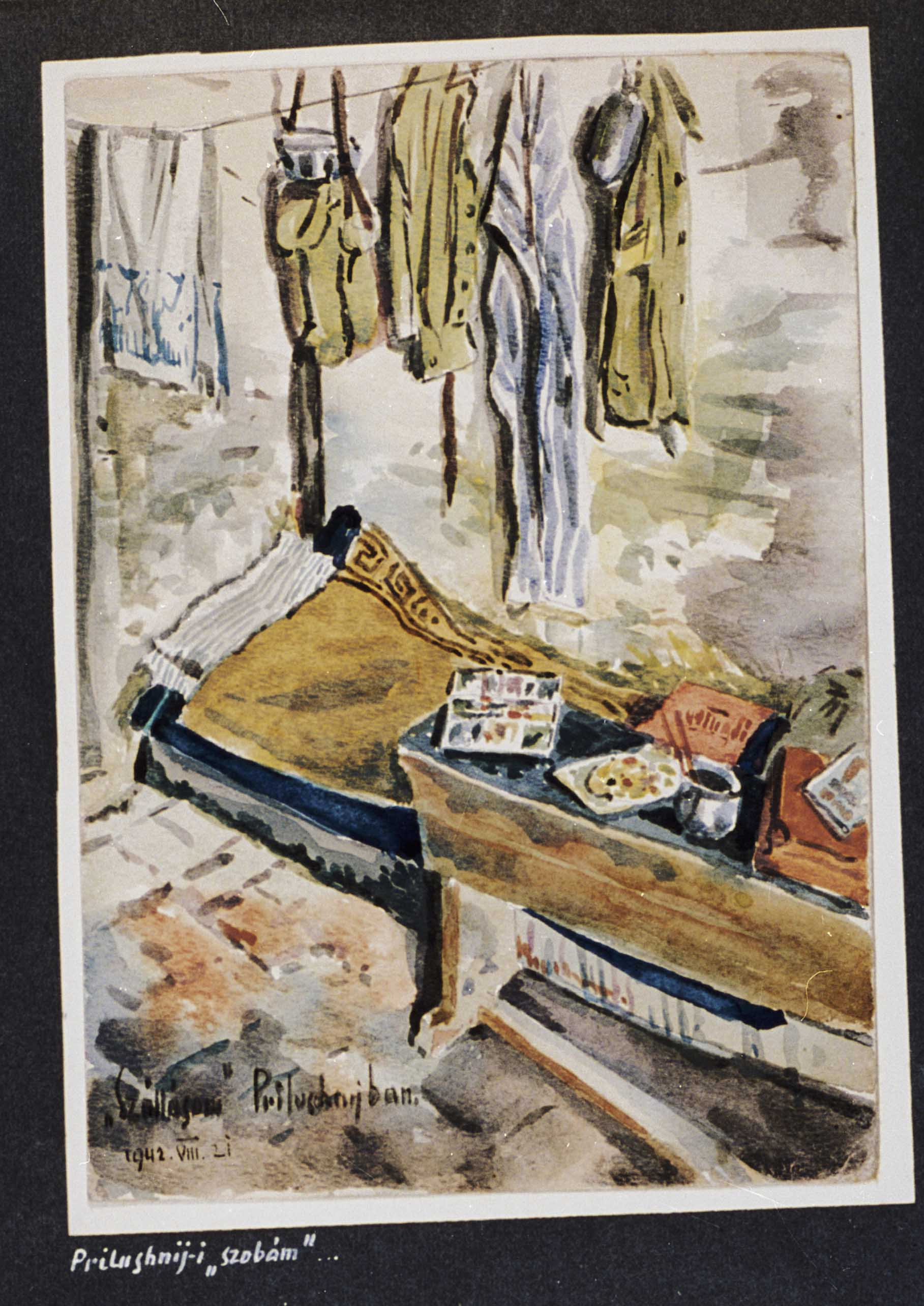 Watercolor painting showing Beifeld's lodgings while in Prilushniy on August 21, 1942.  While his accommodations are spare, he is yet living a civilized existence five months before the Soviet counteroffensive. His clothing is hung up; his laundry is drying on a clothesline; his artistic supplies are laid out in an orderly way on his bed. [Photograph #58052]