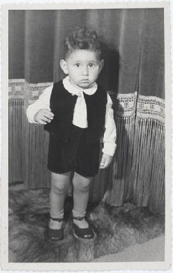 Jewish child Hans van den Broeke (born Hans Culp) in hiding in the Netherlands. He is 2 years old in this photograph.