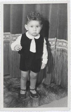 Jewish child Hans van den Broeke (born Hans Culp) in hiding in the Netherlands. He is 2 years old in this photograph.