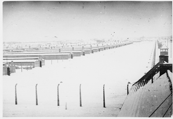 View of Auschwitz-Birkenau under a blanket of snow immediately after the liberation. Auschwitz, Poland, January 1945.