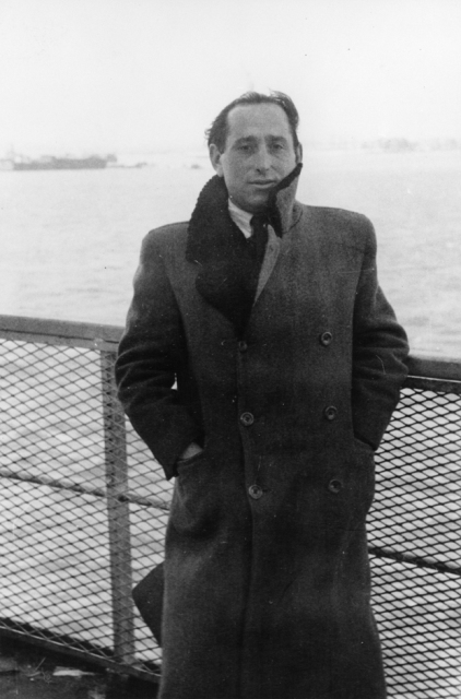 Portrait of Shmuel (Miles) Lerman on the deck of the SS Marine Perch upon its arrival in New York harbor. February 11, 1947.