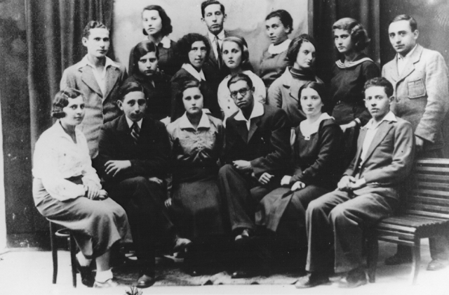 Group portrait of members of the Hashomer Hatzair Zionist youth movement. Among those pictured is Shmuel (Miles) Lerman (first row, second from the left). Lvov, Poland, 1937.