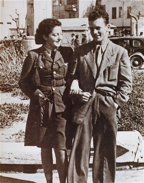 Jewish parachutist Hannah Szenes with her brother, before leaving for a rescue mission. Palestine, March 1944.