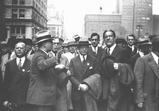 Dr. Bernard Deutsch, president of the American Jewish Congress (center) and Rabbi Stephen S. Wise (right) participate in a mass demonstration against Nazi treatment of German Jews. The demonstration took place on the same day as the book burnings in Germany. New York, United States, May 10, 1933.