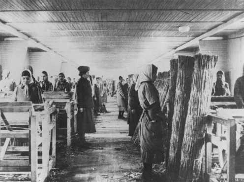 Romani (Gypsy) inmates at forced labor in Ravensbrueck concentration camp. Germany, between 1941 and 1944.
