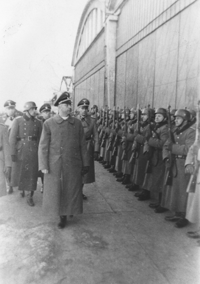 SS chief Heinrich Himmler reviews a unit of SS-police in Krakow, Poland, March 13, 1942.