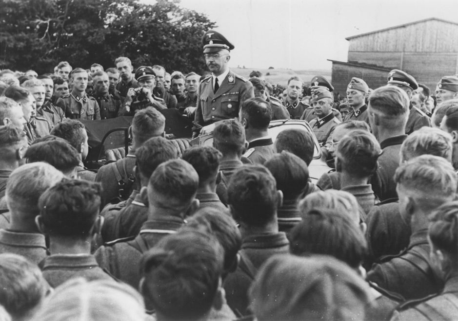 SS chief Heinrich Himmler addresses a group of soldiers in a cavalry regiment of the Waffen SS in the eastern territories. 1942.