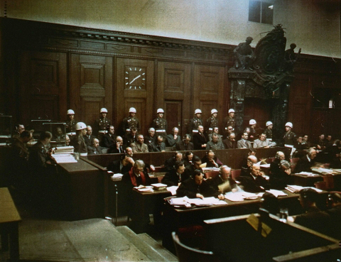 The accused and their defense attorneys at the International Military Tribunal courtroom.