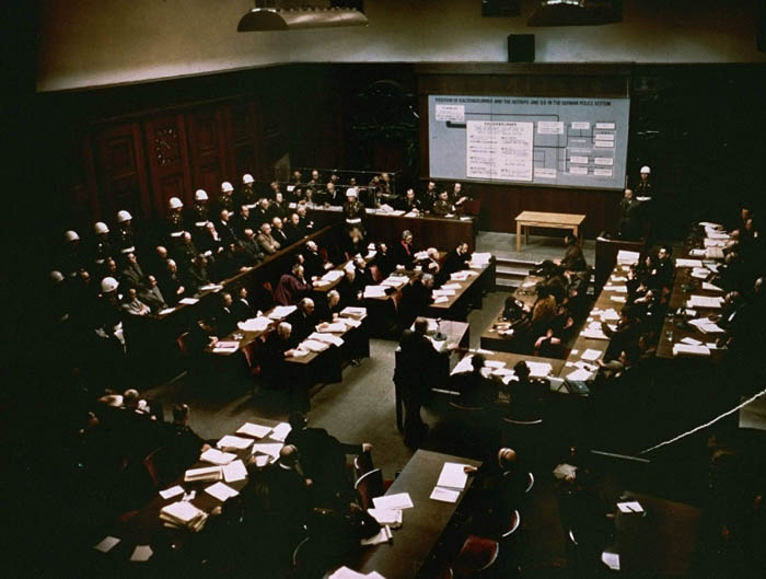 The presentation of evidence about defendant Ernst Kaltenbrunner at the International Military Tribunal trial of war criminals at Nuremberg. January 2, 1946.