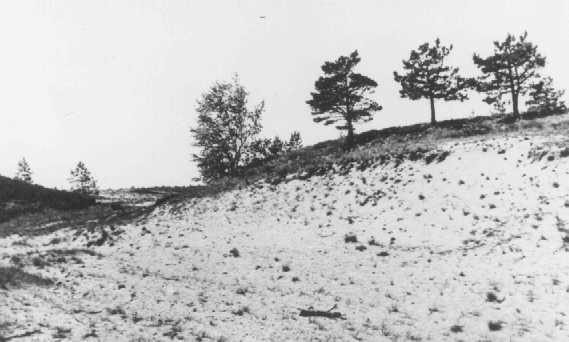 Site où les membres de l'Einsatzgruppe A (unité mobile d'extermination A) et des collaborateurs estoniens participèrent à l'exécution de masse de Juifs en septembre 1941. Kalevi-Liiva, Estonie, après septembre 1944.