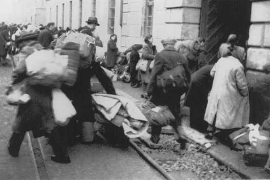 Arrival of a transport of Dutch Jews in the Theresienstadt ghetto. Czechoslovakia, February 1944.