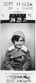 Anne Frank at five years of age. Bad Aachen, Germany, September 11, 1934.