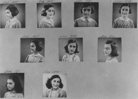 Página do álbum de retratos de Anne Frank com fotos tiradas entre os anos de 1935 a 1942. Amsterdã, Holanda.