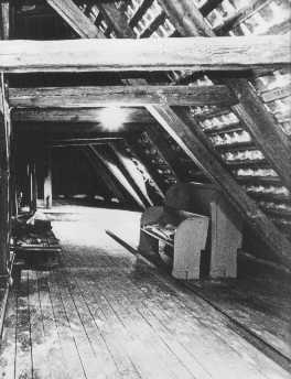 The attic of Gilleleje church, where 80 Jews were in hiding. The Gestapo caught them on October 7, 1943, and deported them to the Theresienstadt ghetto. Gilleleje, Denmark, 1940-1945.