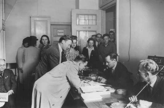 Danish refugees register in Sweden after escaping from Denmark. Sweden, after October 1943.