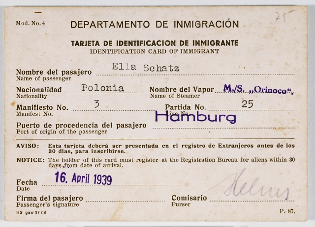 Cuban immigration papers issued to Ella Schatz, a passenger on board the Orinoco, en route to Cuba. April 16, 1939