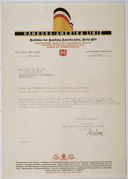 Letter from the Hamburg-Amerika Line sent to Ella Schatz confirming her passage on board the Orinoco. February 15, 1939.