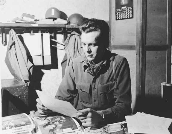 Portrait of US combat photographer Arnold E. Samuelson. France, 1944-1945.
