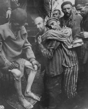 Former prisoners of Wöbbelin, a subcamp of Neuengamme, are taken to a hospital for medical attention. Germany, May 4, 1945.