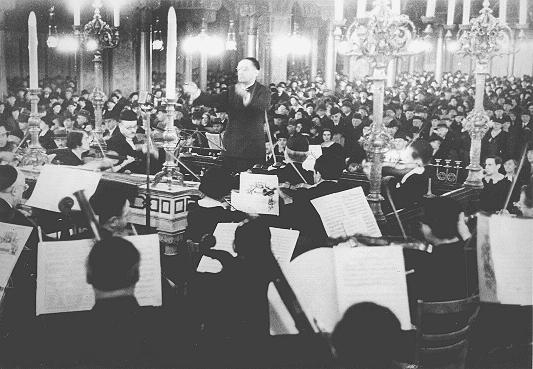 A concert in the Oranienburger Street synagogue organized by the Cultural Society of German Jews. Berlin, Germany, 1938.