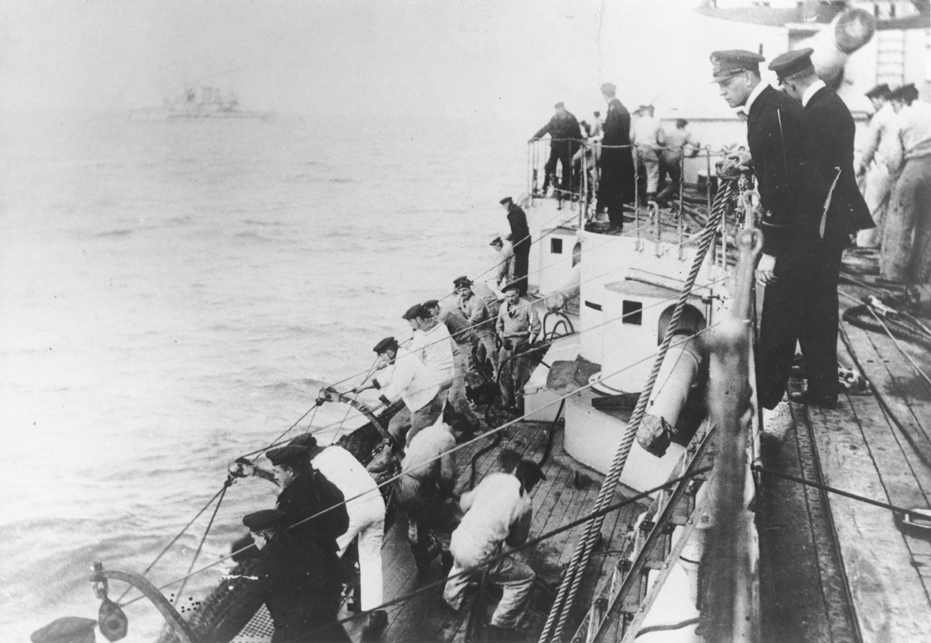 German naval officer Martin Niemöller (top, foreground) commands a U-Boat during World War I. Flensburg, Germany , ca. 1914-1917.